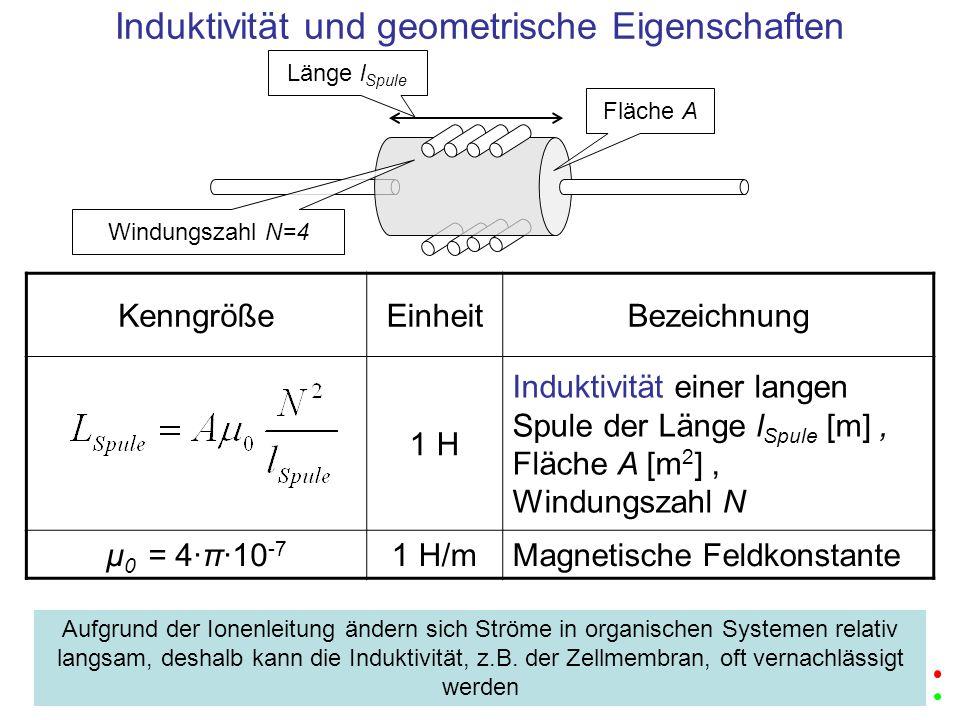 KenngrößeEinheitBezeichnung 1 H Induktivität einer langen Spule der Länge l Spule [m], Fläche A [m 2 ], Windungszahl N μ 0 = 4·π·10 -7 1 H/mMagnetisch