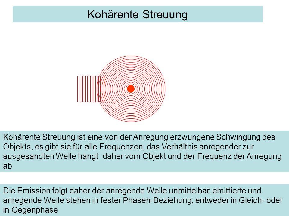 Kohärente Streuung Kohärente Streuung ist eine von der Anregung erzwungene Schwingung des Objekts, es gibt sie für alle Frequenzen, das Verhältnis anr