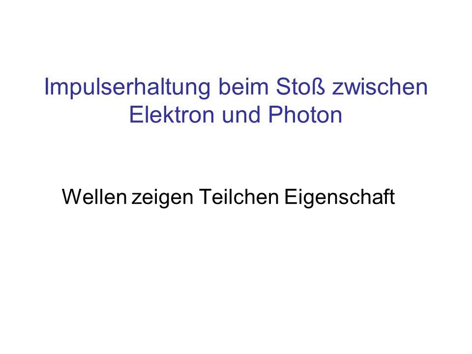 Wellen zeigen Teilchen Eigenschaft Impulserhaltung beim Stoß zwischen Elektron und Photon