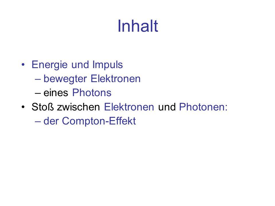 Zusammenfassung Photonen erscheinen beim Stoß auf Materie als Teilchen mit Impuls p=h/λ und Energie W=hc/λ –Beim Stoß bleibt die Geschwindigkeit konstant c, es ändert sich die Wellenlänge, bei Ablenkung unter dem Winkel Φ gilt: – Δλ=h/(mc)·(1-cosΦ) (h=6,6E-34 Js, m=9,1E-31 kg) Ergebnisse beim Stoß eines 120 keV Photons (med.