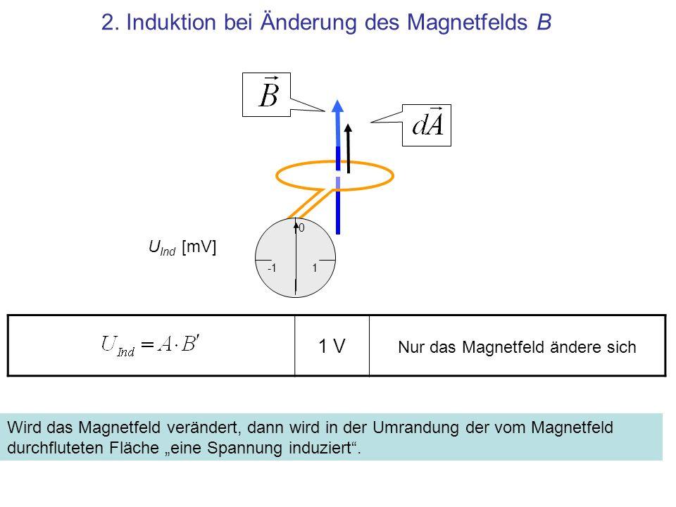 1 V 2. Induktion bei Änderung des Magnetfelds B 1 0 Wird das Magnetfeld verändert, dann wird in der Umrandung der vom Magnetfeld durchfluteten Fläche