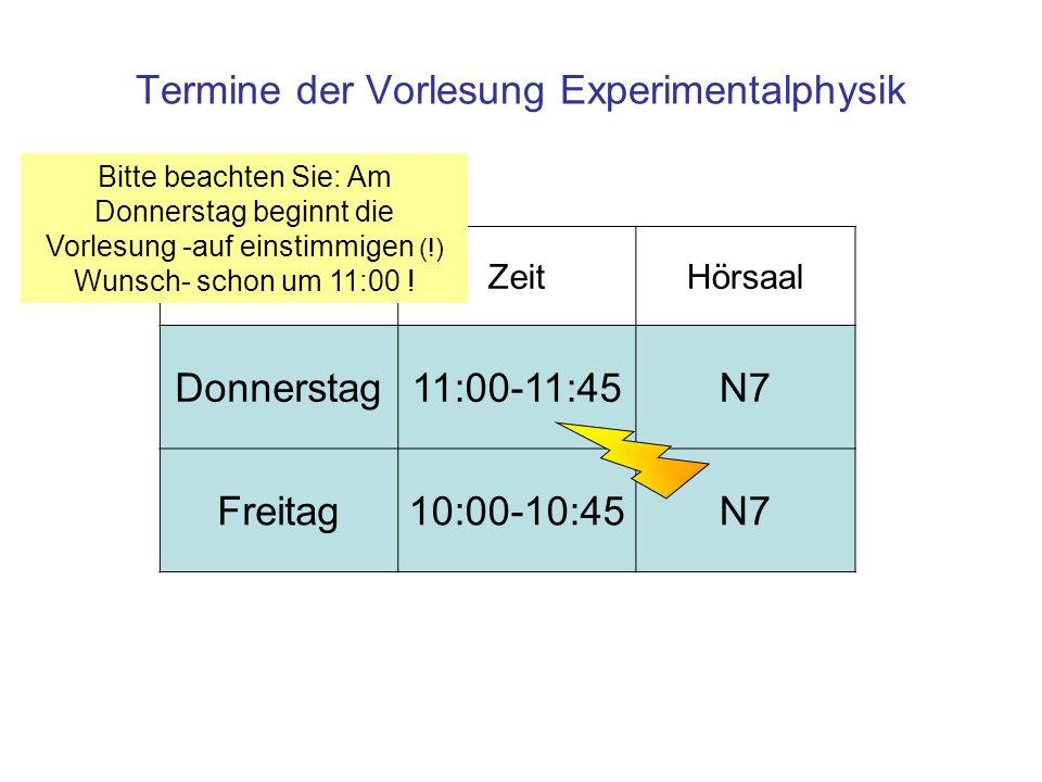 Termine der Vorlesung Experimentalphysik ZeitHörsaal Donnerstag11:00-11:45N7 Freitag10:00-10:45N7 Bitte beachten Sie: Am Donnerstag beginnt die Vorlesung -auf einstimmigen (!) Wunsch- schon um 11:00 !