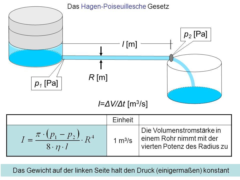 Das Hagen-Poiseuillesche Gesetz Einheit 1 m 3 /s Die Volumenstromstärke in einem Rohr nimmt mit der vierten Potenz des Radius zu l [m] p 1 [Pa] p 2 [P