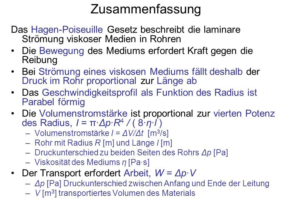 Zusammenfassung Das Hagen-Poiseuille Gesetz beschreibt die laminare Strömung viskoser Medien in Rohren Die Bewegung des Mediums erfordert Kraft gegen