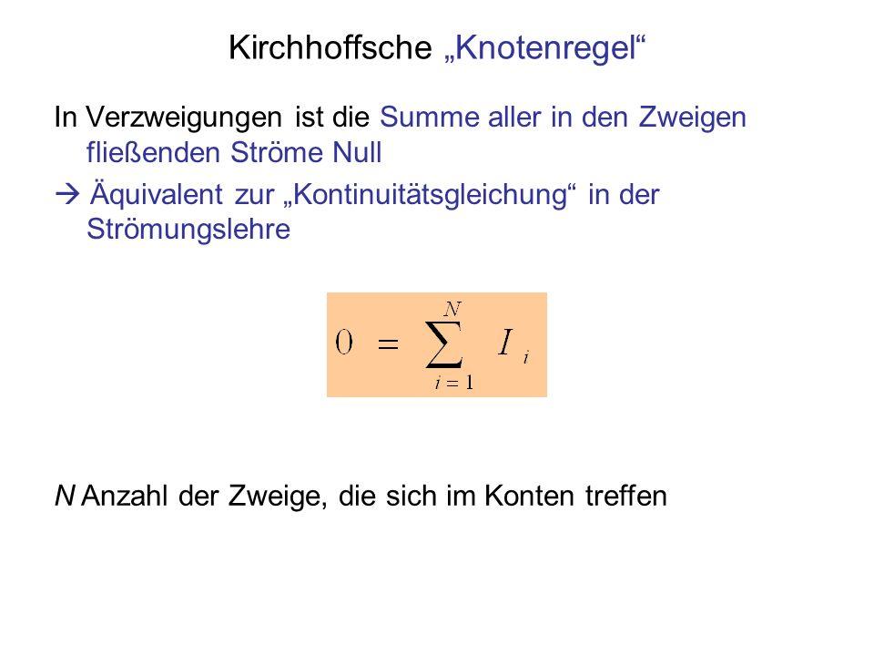Kirchhoffsche Knotenregel In Verzweigungen ist die Summe aller in den Zweigen fließenden Ströme Null Äquivalent zur Kontinuitätsgleichung in der Ström