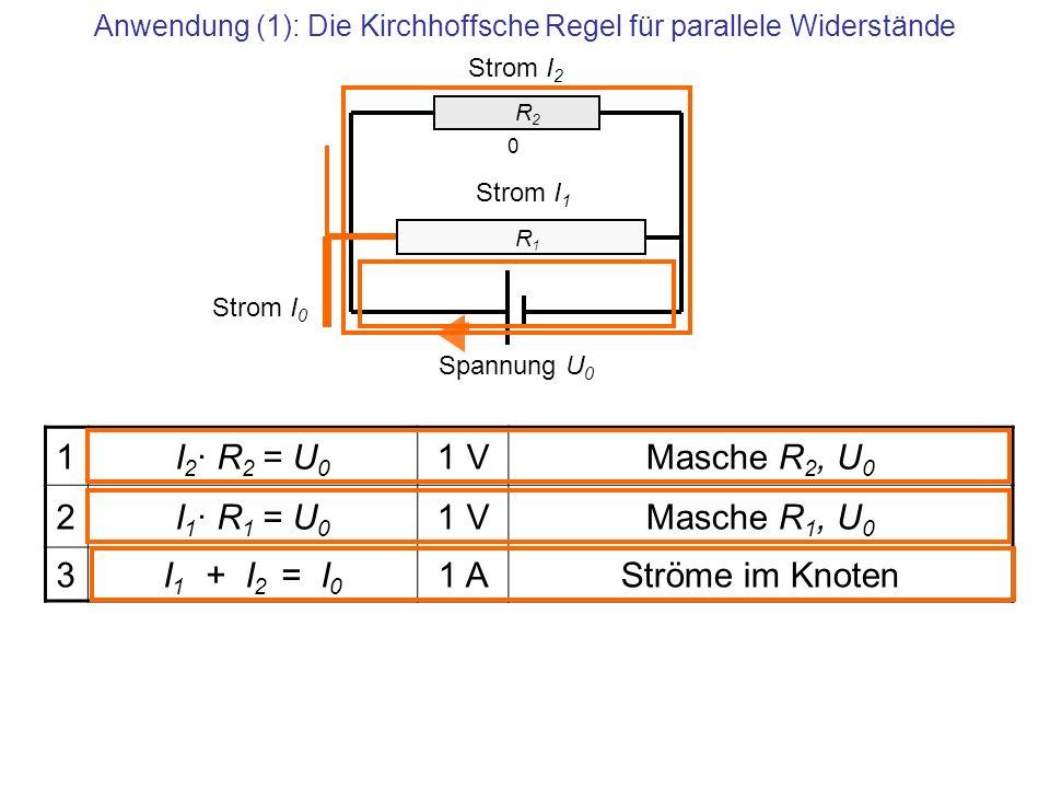 Anwendung (1): Die Kirchhoffsche Regel für parallele Widerstände R2 R2 Strom I 2 Strom I 1 0 1I 2 · R 2 = U 0 1 VMasche R 2, U 0 2I 1 · R 1 = U 0 1 VM