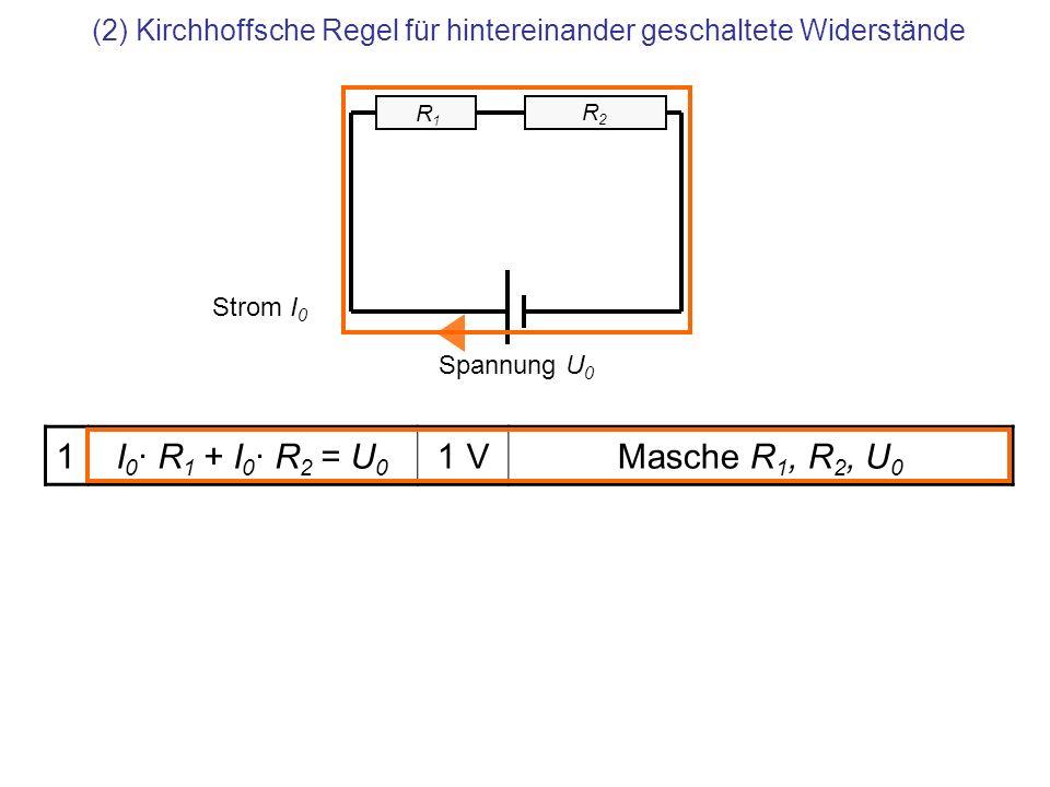 (2) Kirchhoffsche Regel für hintereinander geschaltete Widerstände 1I 0 · R 1 + I 0 · R 2 = U 0 1 VMasche R 1, R 2, U 0 Spannung U 0 Strom I 0 R2 R2 R