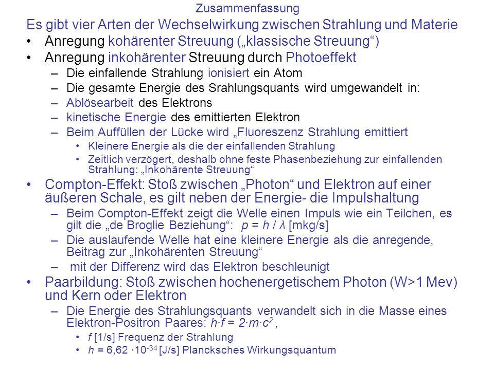 Es gibt vier Arten der Wechselwirkung zwischen Strahlung und Materie Anregung kohärenter Streuung (klassische Streuung) Anregung inkohärenter Streuung