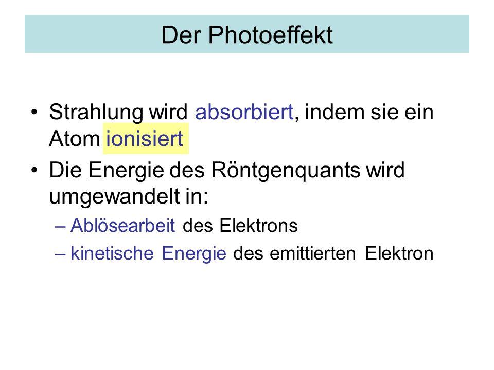 Der Photoeffekt Strahlung wird absorbiert, indem sie ein Atom ionisiert Die Energie des Röntgenquants wird umgewandelt in: –Ablösearbeit des Elektrons