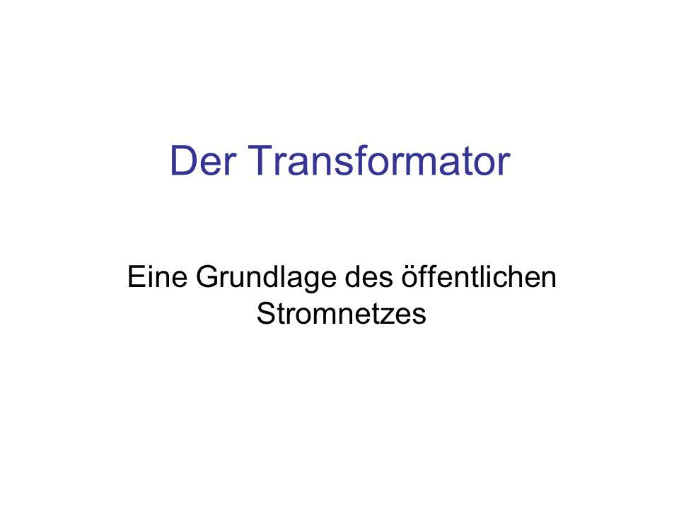 Idealer und realer Transformator Der Transformator wird mit sinusförmigem Wechselstrom betrieben Die Animation zeigt einen idealen Transformator –im Leerlauf, ohne Last an der Sekundär-Spule Die Energie U·I·t [J] fließt periodisch in die Primärspule und wieder zurück Im realen Transformator erfordert die Änderung der Magnetisierung des Materials im Innern der Spulen, dem Kern, Energie, die als Wärme abgeben wird –Diese Verluste nehmen mit der Anzahl der Ummagnetisierungen, d.
