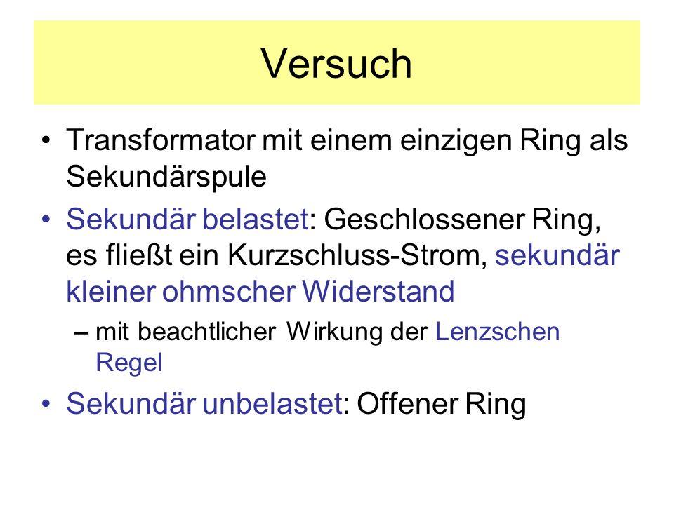 Versuch Transformator mit einem einzigen Ring als Sekundärspule Sekundär belastet: Geschlossener Ring, es fließt ein Kurzschluss-Strom, sekundär klein
