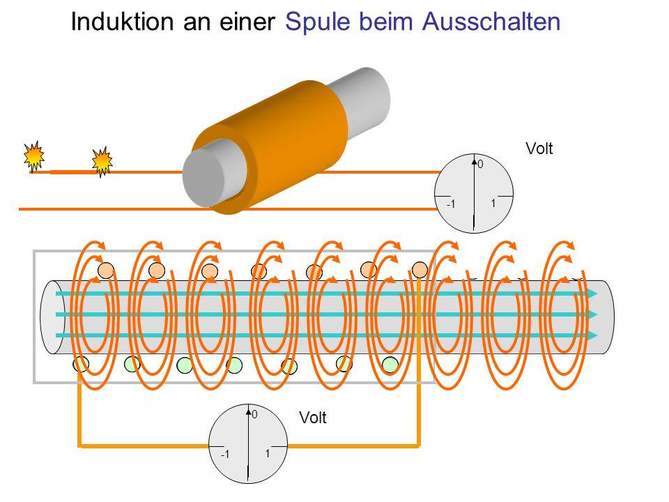 Induktion an einer Spule beim Ausschalten 1 0 1 0 Volt