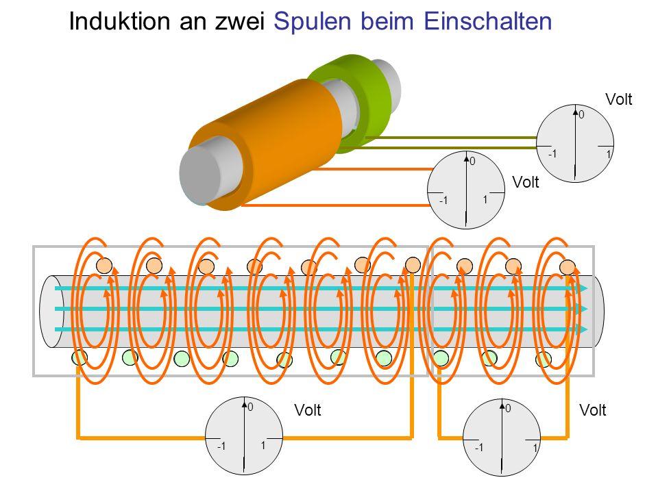 Induktion an zwei Spulen beim Einschalten 1 0 1 0 1 0 1 0 Volt