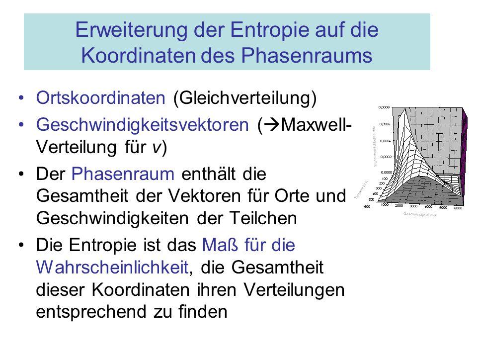 Erweiterung der Entropie auf die Koordinaten des Phasenraums Ortskoordinaten (Gleichverteilung) Geschwindigkeitsvektoren ( Maxwell- Verteilung für v)