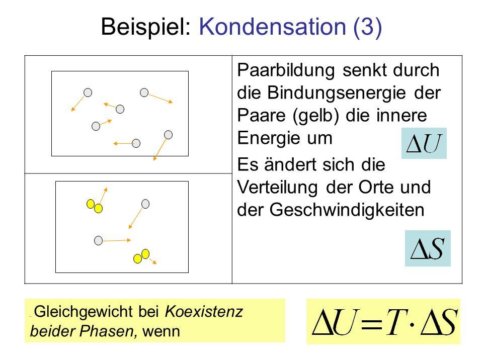Paarbildung senkt durch die Bindungsenergie der Paare (gelb) die innere Energie um Es ändert sich die Verteilung der Orte und der Geschwindigkeiten Be