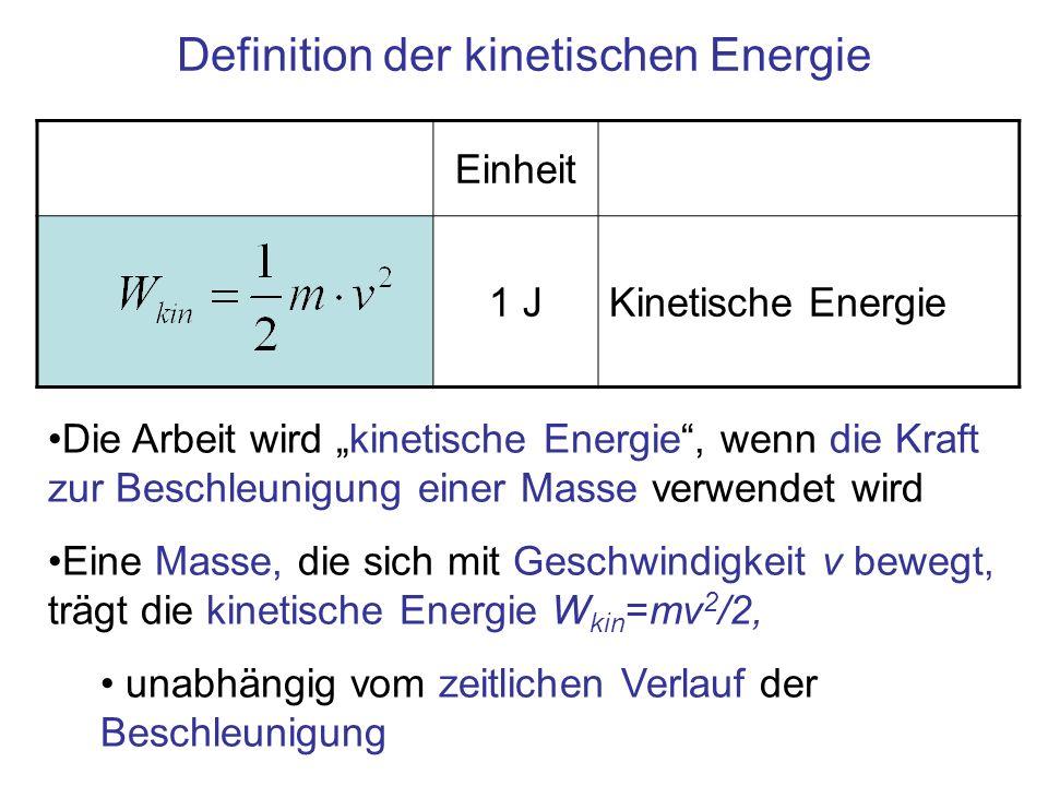 Definition der kinetischen Energie Einheit 1 JKinetische Energie Die Arbeit wird kinetische Energie, wenn die Kraft zur Beschleunigung einer Masse ver