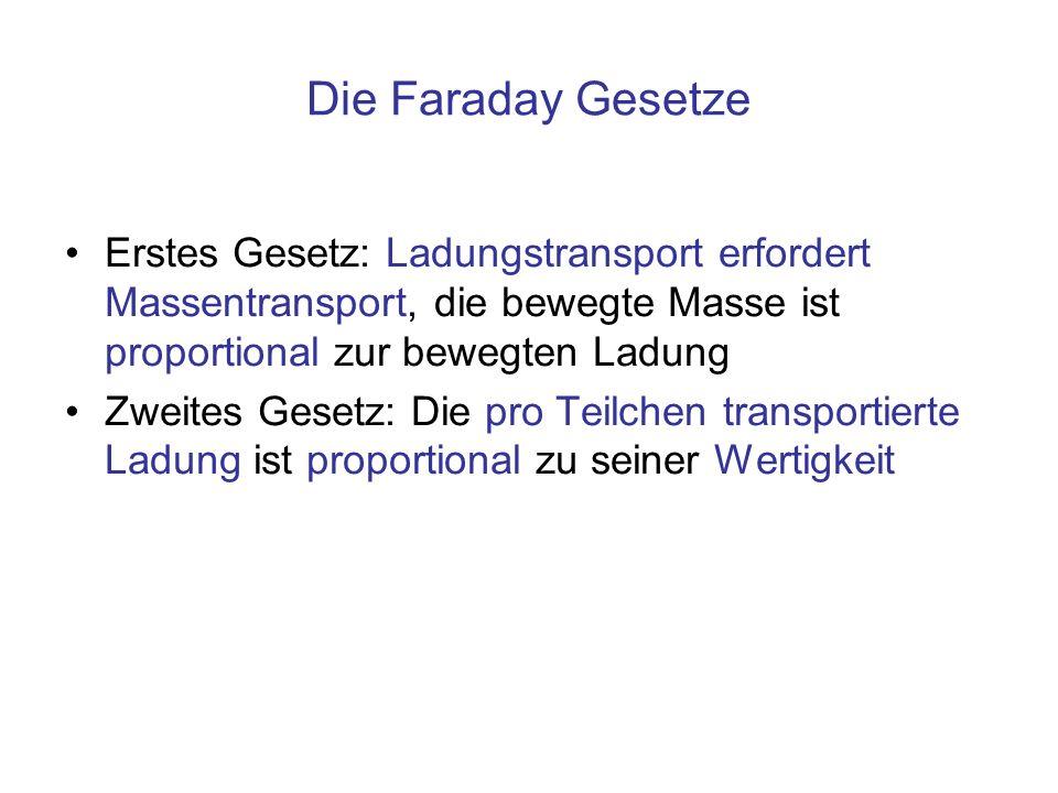 Die Faraday Gesetze Erstes Gesetz: Ladungstransport erfordert Massentransport, die bewegte Masse ist proportional zur bewegten Ladung Zweites Gesetz: