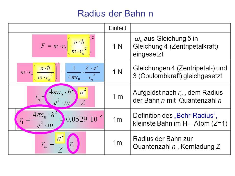 Einheit 1 N ω n aus Gleichung 5 in Gleichung 4 (Zentripetalkraft) eingesetzt 1 N Gleichungen 4 (Zentripetal-) und 3 (Coulombkraft) gleichgesetzt 1 m A