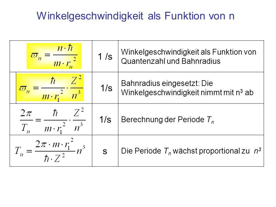 1 /s Winkelgeschwindigkeit als Funktion von Quantenzahl und Bahnradius 1/s Bahnradius eingesetzt: Die Winkelgeschwindigkeit nimmt mit n 3 ab 1/s Berec