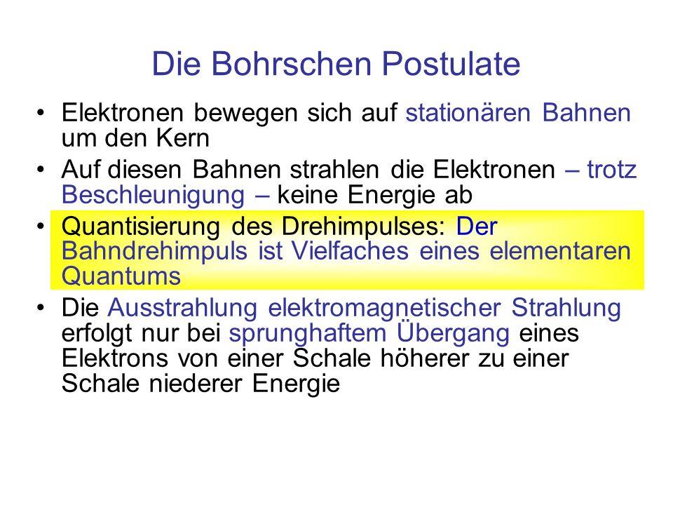 Die Bohrschen Postulate Elektronen bewegen sich auf stationären Bahnen um den Kern Auf diesen Bahnen strahlen die Elektronen – trotz Beschleunigung –
