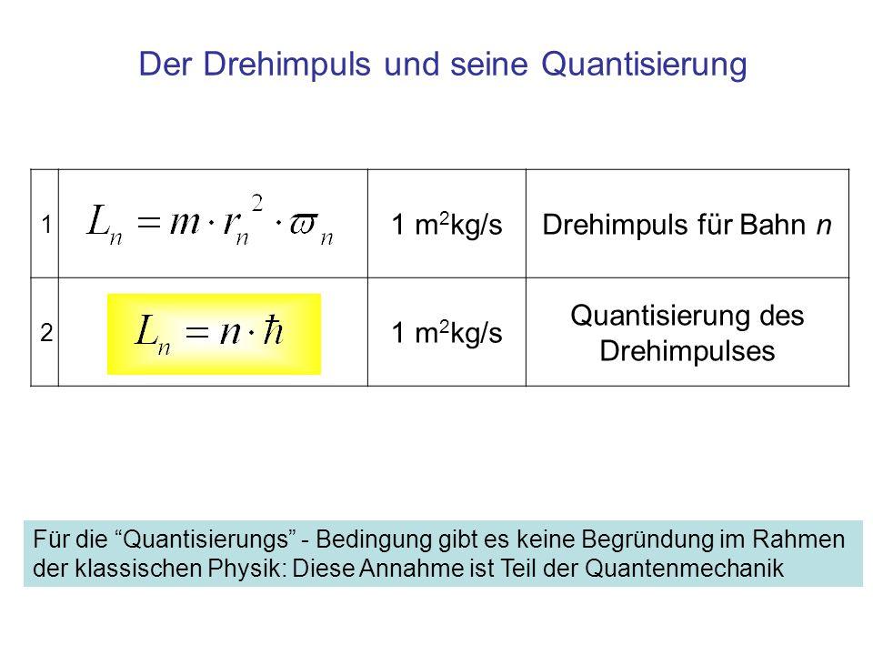 1 1 m 2 kg/sDrehimpuls für Bahn n 2 1 m 2 kg/s Quantisierung des Drehimpulses Der Drehimpuls und seine Quantisierung Für die Quantisierungs - Bedingun
