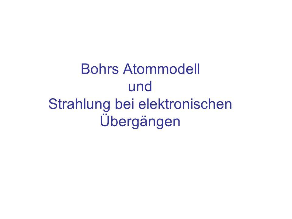 Formel- zeichen WertSI EinheitAnmerkung e 1,60 10 -19 1 CElementarladung 1,05 10 -34 1 Js Plancksches Wirkungsquantum meme 9,11 10 -31 1 kg Masse des Elektrons RHRH 1,10·10 7 1m -1 Rydberg- Konstante Konstanten, Link zum Periodensystem: http://www.chemicool.com/http://www.chemicool.com/ Link zu Tabellen der Chemie: http://webbook.nist.gov/chemistry/http://webbook.nist.gov/chemistry/