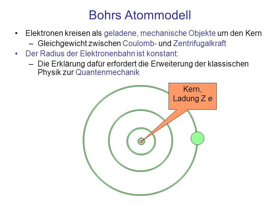 Bohrs Atommodell Elektronen kreisen als geladene, mechanische Objekte auf Bahnen mit konstantem Radius um den Kern –Gleichgewicht zwischen Coulomb- und Zentrifugalkraft –Aber: trotz beschleunigter Ladung werden keine elektromagnetischen Felder aufgebaut/gesendet Die Quantenbedingung für den Drehimpuls führt auf diskrete, mit den Quantenzahlen n = 1, 2, 3, … nummerierbare Bahnen, –kleinster Radius, Bohr-Radius, r 1 = 0,0529 nm Zum Vergleich: Satelliten umkreisen die Erde auf beliebigen Bahnen