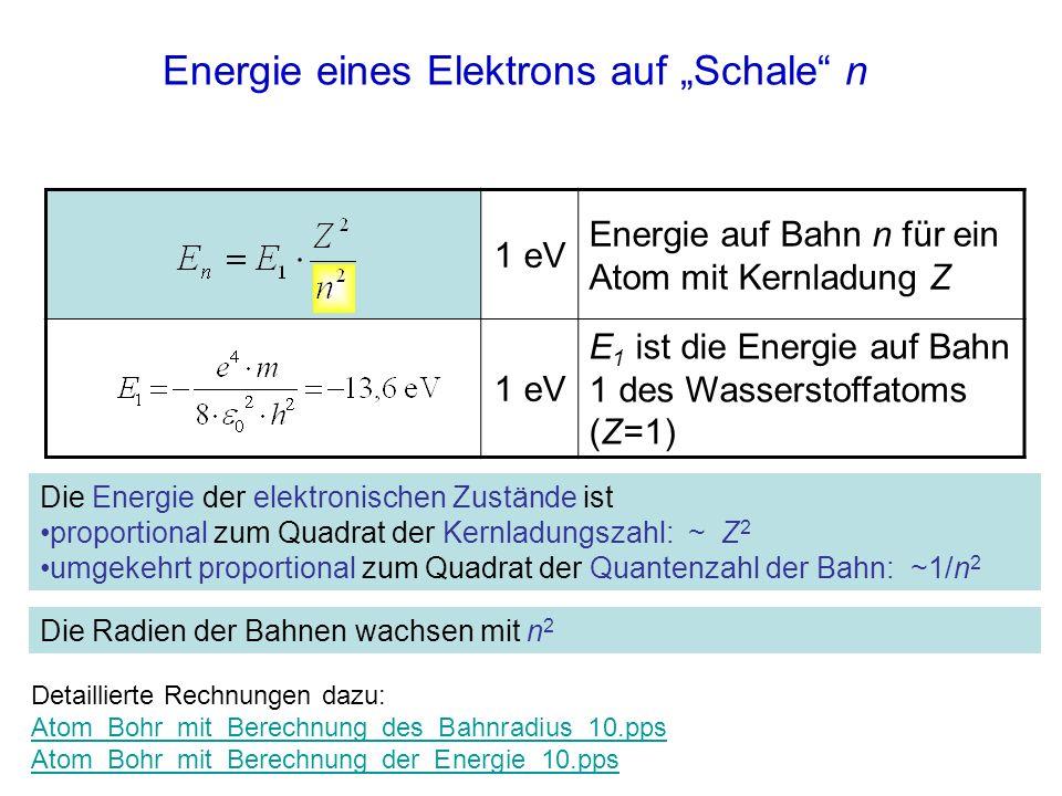 Energie eines Elektrons auf Schale n 1 eV Energie auf Bahn n für ein Atom mit Kernladung Z 1 eV E 1 ist die Energie auf Bahn 1 des Wasserstoffatoms (Z