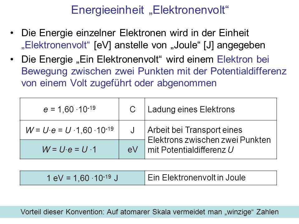 Energieeinheit Elektronenvolt Die Energie einzelner Elektronen wird in der Einheit Elektronenvolt [eV] anstelle von Joule [J] angegeben Die Energie Ei
