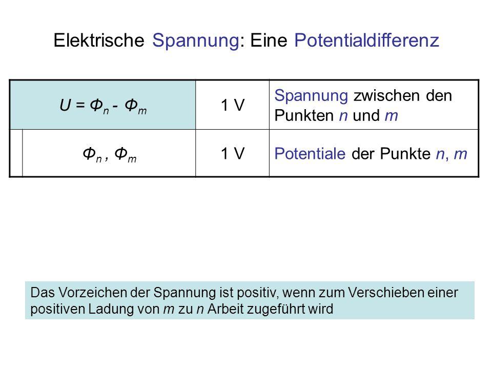 U = Φ n - Φ m 1 V Spannung zwischen den Punkten n und m Φ n, Φ m 1 VPotentiale der Punkte n, m Elektrische Spannung: Eine Potentialdifferenz Das Vorze