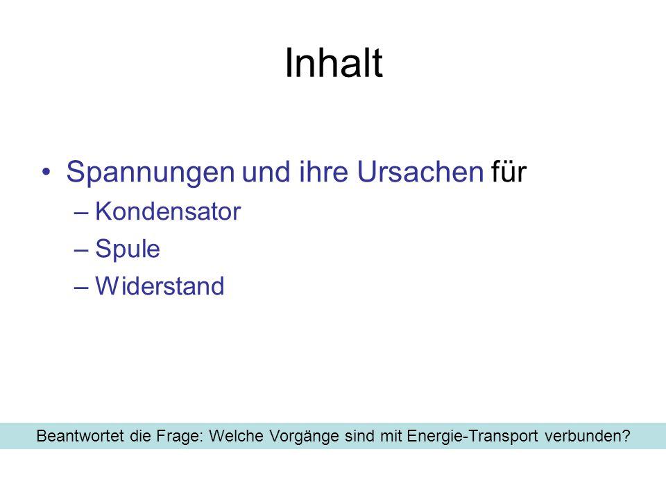 Inhalt Spannungen und ihre Ursachen für –Kondensator –Spule –Widerstand Beantwortet die Frage: Welche Vorgänge sind mit Energie-Transport verbunden?