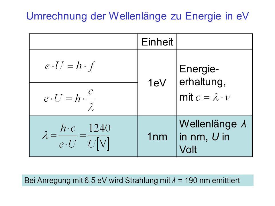 Einheit 1eV Energie- erhaltung, mit 1nm Wellenlänge λ in nm, U in Volt Umrechnung der Wellenlänge zu Energie in eV Bei Anregung mit 6,5 eV wird Strahl