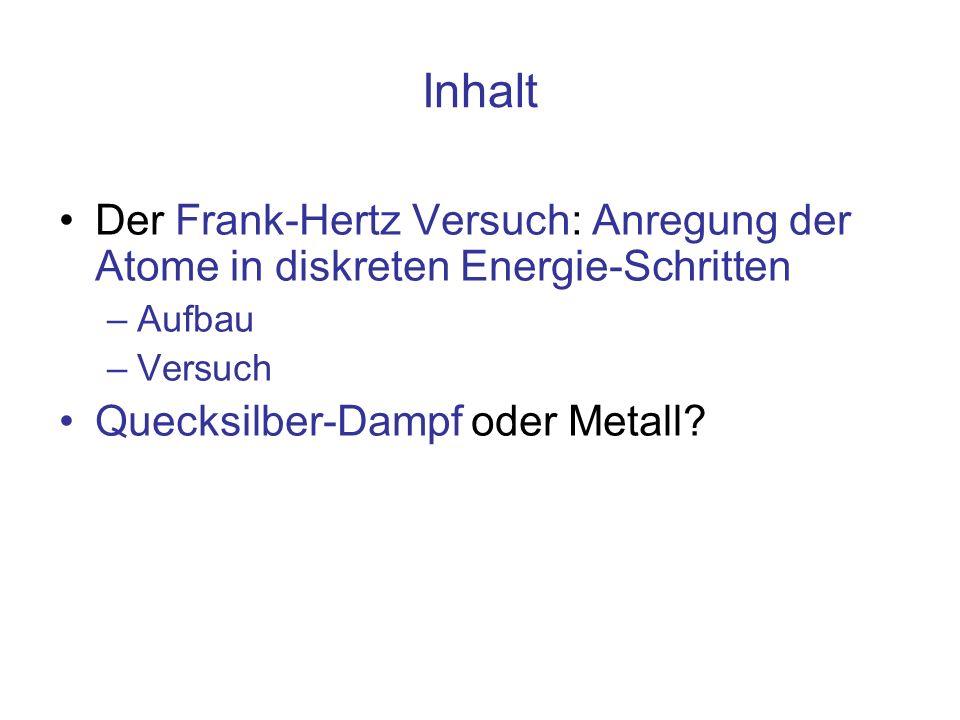 Inhalt Der Frank-Hertz Versuch: Anregung der Atome in diskreten Energie-Schritten –Aufbau –Versuch Quecksilber-Dampf oder Metall?