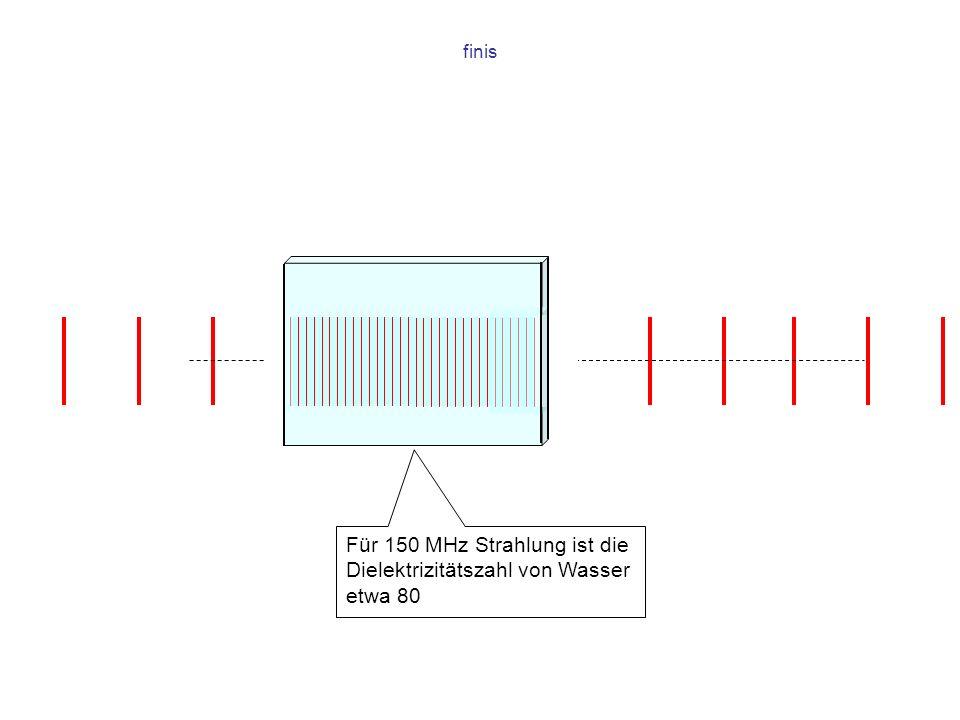 finis Für 150 MHz Strahlung ist die Dielektrizitätszahl von Wasser etwa 80