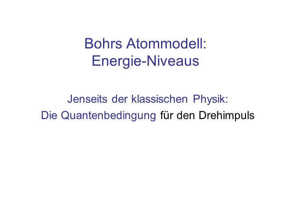 Inhalt Bohrs Atommodell: Abhängig von der Quantenzahl: –Energie auf den diskreten Bahnen Emission von oder Absorption elektromagnetischer Strahlung beim Wechsel der Bahnen