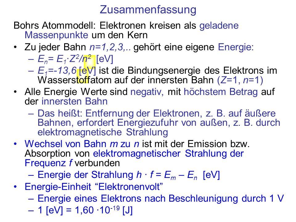 Formel- zeichen WertSI EinheitAnmerkung e 1,60 10 -19 1 CElementarladung 1,05 10 -34 1 Js Plancksches Wirkungsquantum meme 9,11 10 -31 1 kg Masse des Elektrons 8,85 10 -12 1 F/m Elektrische Feldkonstante Konstanten, Link zum Periodensystem: http://www.chemicool.com/http://www.chemicool.com/ Link zu Tabellen der Chemie: http://webbook.nist.gov/chemistry/http://webbook.nist.gov/chemistry/