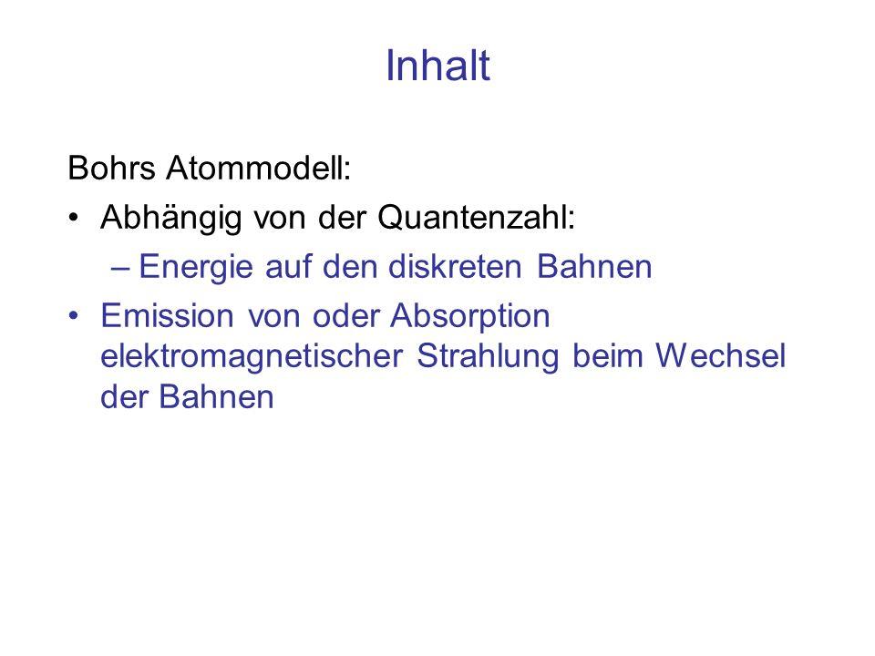 Bohrs Atommodell mit quantisierten Drehimpulsen für Z=1, H r1r1 r 2 =4r 1 r 3 =9r 1 r 4 =16r 1 nTnTn 1T1T1 28·T18·T1 327·T 1 464·T 1 Die Animation zeigt das Anwachsen von T n mit n 3 nur qualitativ Drehimpuls- Vektor ~ n