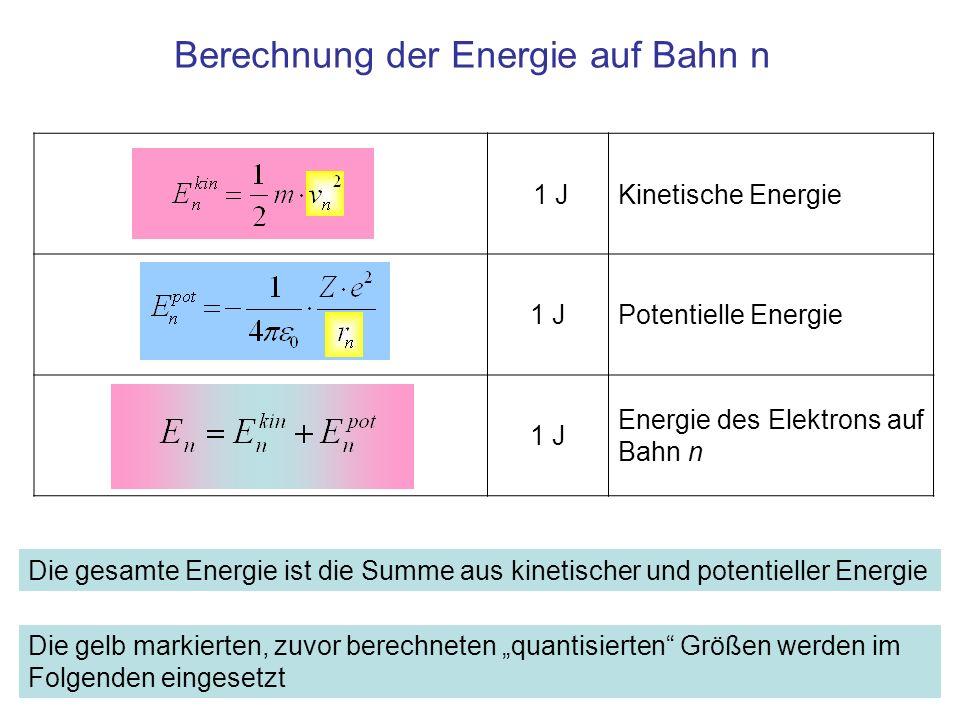 1 J v n = r n ·ω n eingesetzt 1 J Quantisierte Winkelgeschwindigkeit eingesetzt 1 J eingesetzt Kinetische Energie auf Bahn n mit r 1