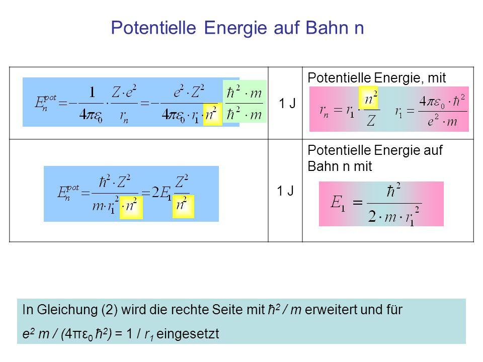 Energie 1 eV Die gesamte Energie ist die Summe aus kinetischer und potentieller Energie 1eV Kinetische potentielle Energie eingesetzt, mit Abkürzung E 1 1 eV Energie auf Bahn n für ein Atom mit Kernladung Z 1 eV E 1 ist die Energie auf Bahn 1 des Wasserstoffatoms (Z=1) Die Energie der elektronischen Zustände ist proportional zum Quadrat der Kernladungszahl: ~ Z 2 umgekehrt proportional zum Quadrat der Quantenzahl der Bahn: ~1/n 2