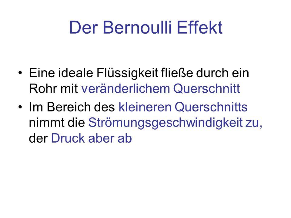 Der Bernoulli Effekt Eine ideale Flüssigkeit fließe durch ein Rohr mit veränderlichem Querschnitt Im Bereich des kleineren Querschnitts nimmt die Strö