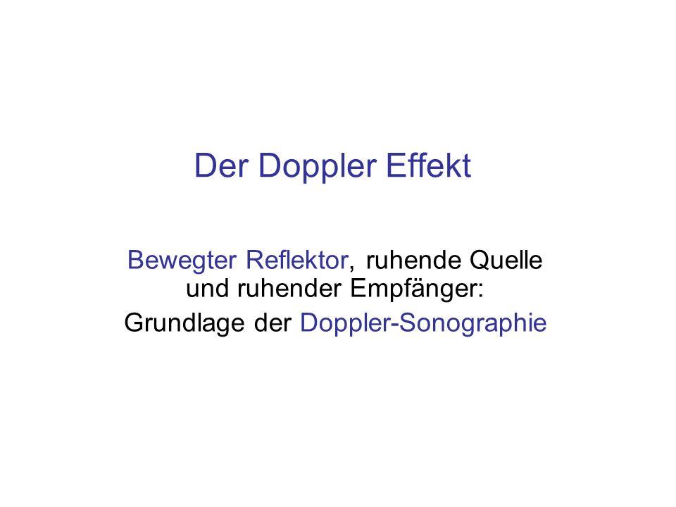 Der Doppler Effekt Bewegter Reflektor, ruhende Quelle und ruhender Empfänger: Grundlage der Doppler-Sonographie