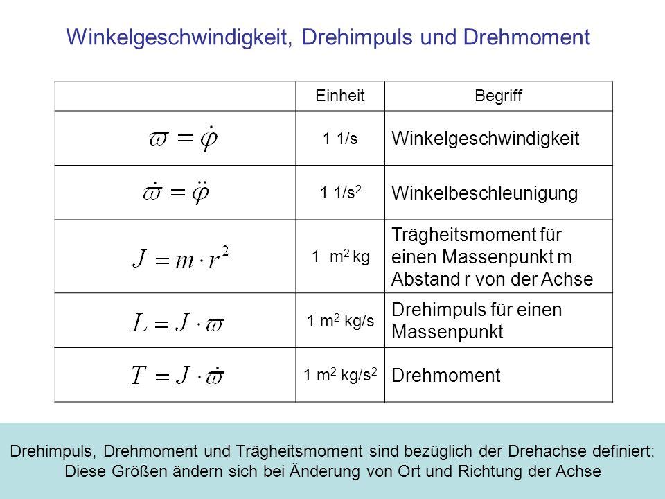 EinheitBegriff 1 1/s Winkelgeschwindigkeit 1 1/s 2 Winkelbeschleunigung 1 m 2 kg Trägheitsmoment für einen Massenpunkt m Abstand r von der Achse 1 m 2