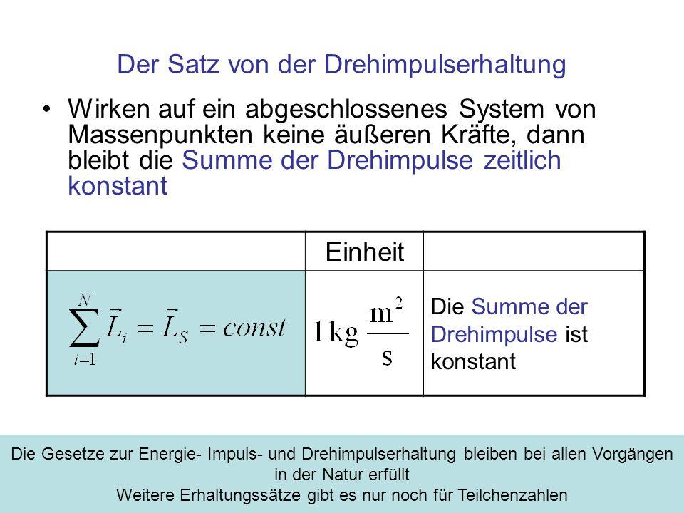 Der Satz von der Drehimpulserhaltung Wirken auf ein abgeschlossenes System von Massenpunkten keine äußeren Kräfte, dann bleibt die Summe der Drehimpul