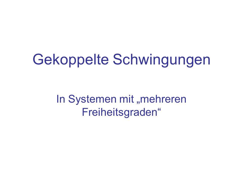 Gekoppelte Schwingungen In Systemen mit mehreren Freiheitsgraden