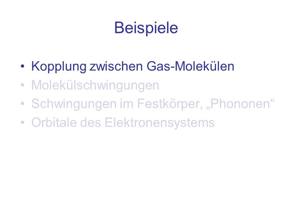Beispiele Kopplung zwischen Gas-Molekülen Molekülschwingungen Schwingungen im Festkörper, Phononen Orbitale des Elektronensystems