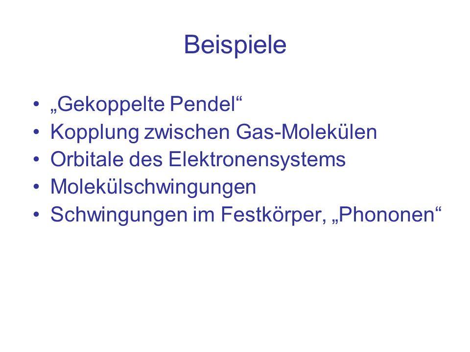 Beispiele Gekoppelte Pendel Kopplung zwischen Gas-Molekülen Orbitale des Elektronensystems Molekülschwingungen Schwingungen im Festkörper, Phononen