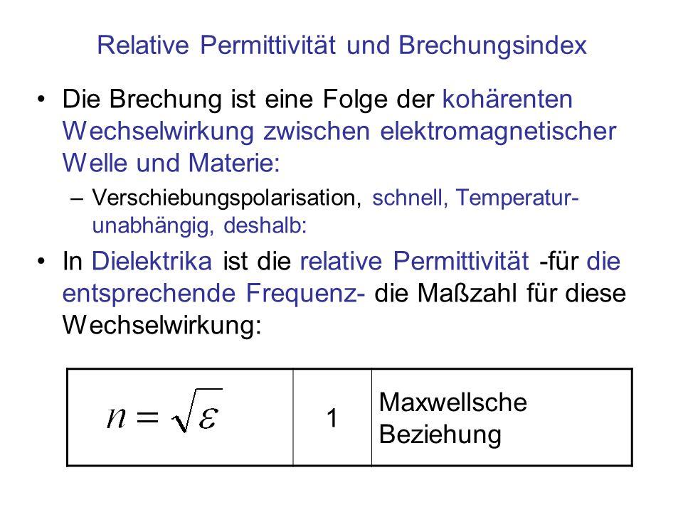Relative Permittivität und Brechungsindex Die Brechung ist eine Folge der kohärenten Wechselwirkung zwischen elektromagnetischer Welle und Materie: –V