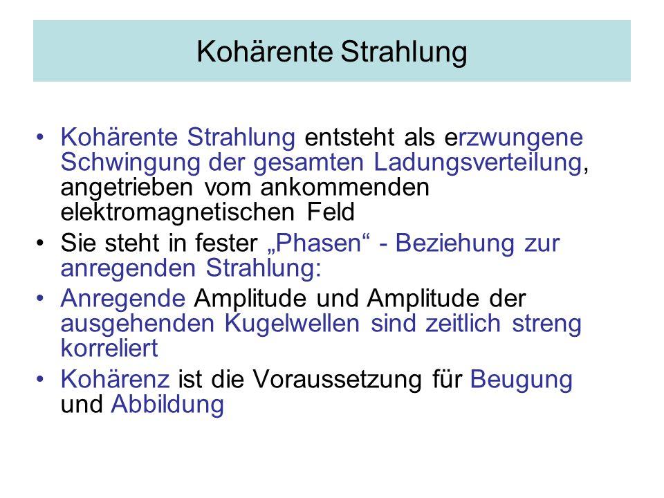 Beispiel für die Entstehung kohärenter Strahlung Anregende und emittierte Welle sind phasengleich