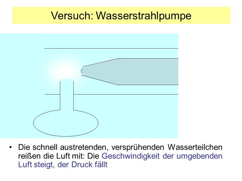Die schnell austretenden, versprühenden Wasserteilchen reißen die Luft mit: Die Geschwindigkeit der umgebenden Luft steigt, der Druck fällt Versuch: Wasserstrahlpumpe