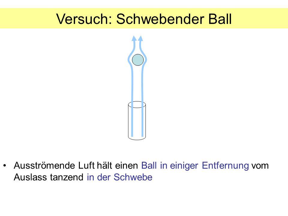 Ausströmende Luft hält einen Ball in einiger Entfernung vom Auslass tanzend in der Schwebe Versuch: Schwebender Ball